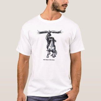 Mongolian hunter with eagle ink drawing art shirt