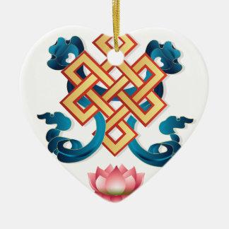 Mongolian religion symbol endless knot for decor ceramic ornament