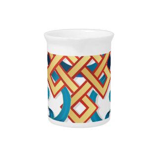 Mongolian religion symbol endless knot for decor pitcher