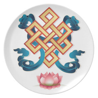 Mongolian religion symbol endless knot for decor plate