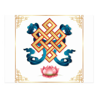 Mongolian religion symbol endless knot for decor postcard