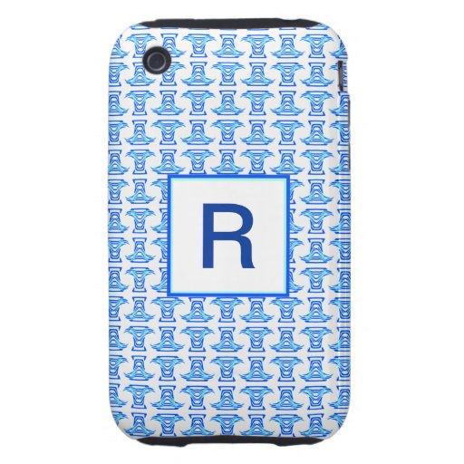 Mongram Blue White Folk Pattern Tough iPhone 3 Case