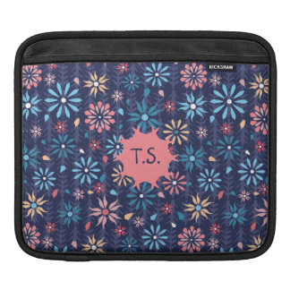 Mongram pretty scattered flowers iPad sleeve
