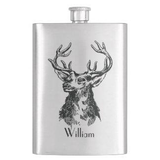 Mongram Stags Head with Antlers Deer Hip Flask
