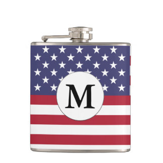 Mongrammed American Flag Hip Flask