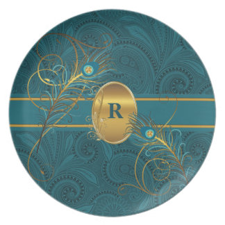 Mongrammed Teal Peacock with Gold Dinnerware Party Plates