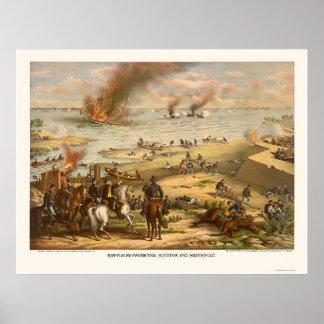 Monitor and Merrimac Battle by Kurz & Allison 1862 Poster