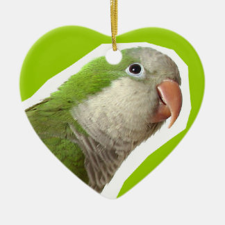 Monk Parakeet Ceramic Heart Decoration