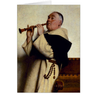 Monk Playing a Clarinet Card
