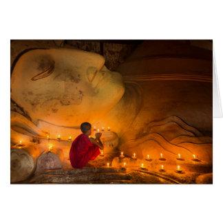 Monk Praying By A Buddha Card