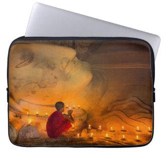 Monk Praying By A Buddha Laptop Sleeve