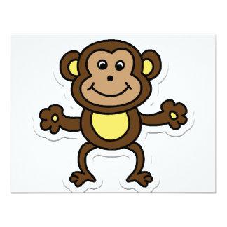 monkey 11 cm x 14 cm invitation card