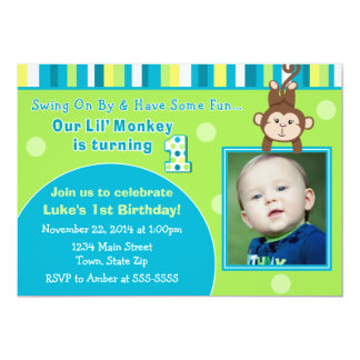 Monkey 1st Birthday Invitation 5x7 Photo Card