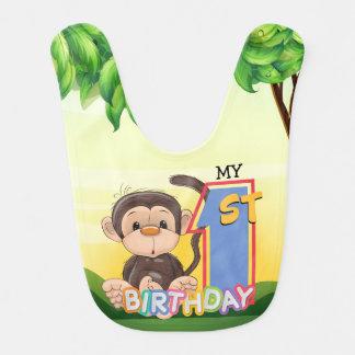 Monkey 1st Birthday Party Bib