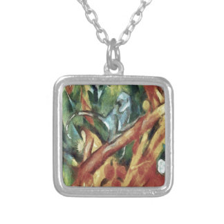 Monkey After Franz Marc, 1912 Silver Plated Necklace