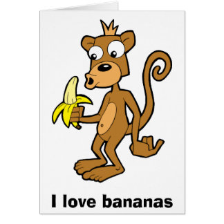 Monkey and Banana, I love bananas. Greeting card