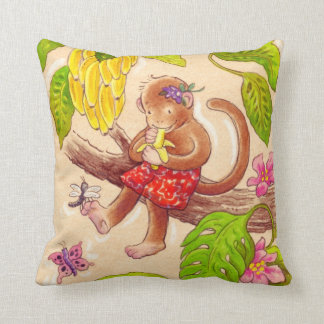 Monkey and Dragonfly Jungle Friends Cushion