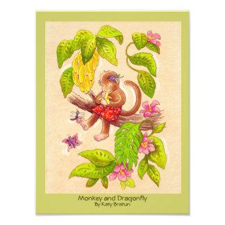 Monkey and Dragonfly Original Children s Art Photo
