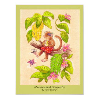 """Monkey and Dragonfly"" Original Children's Art Art Photo"