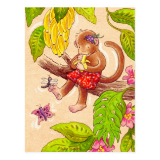 Monkey and Dragonfly Postcard