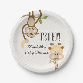 Monkey and Giraffe Safari Jungle Baby Shower Paper Plate