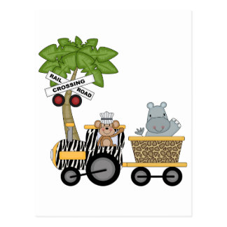 Monkey and Hippo Train Tshirts and Gifts Postcard