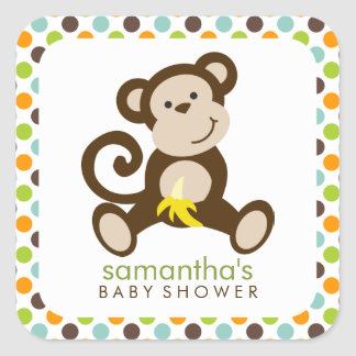 Monkey and Polka Dots Stickers