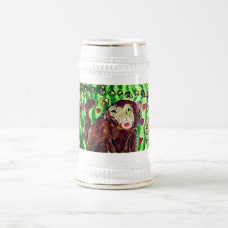 Monkey art beer stein