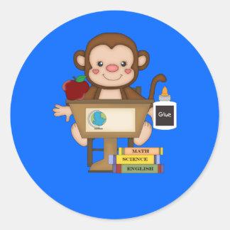 Monkey at School Sitting at Desk Classic Round Sticker