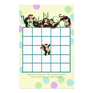 Monkey  Baby Shower Bingo Stationery