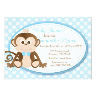 Monkey Baby Shower/Birthday Invitation-Boys Card