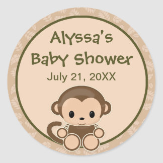 Monkey Baby Shower blank label/seal Nali NJM#04A Round Sticker