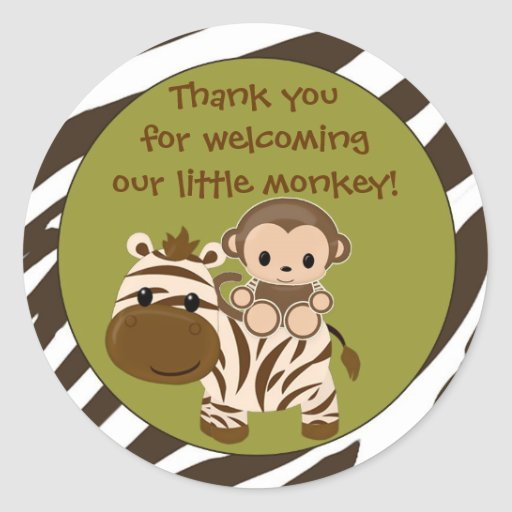 MONKEY Baby Shower blank label/seal Nali NJM#06A Sticker