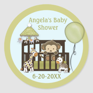 Monkey Baby Shower blank labels/seals CA-Blue #01 Round Sticker
