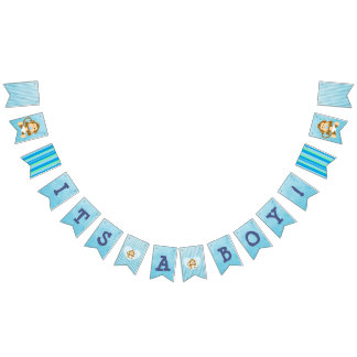 Monkey Baby Shower Blue Flag Banner