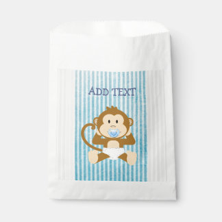 Monkey Baby Shower Blue Striped Party paper favor Favour Bag