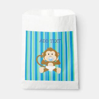 Monkey Baby Shower Blue Striped Party paper favor Favour Bag