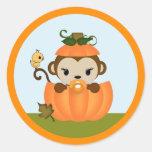 MONKEY Baby Shower Fall Pumpkin GIRL seal round