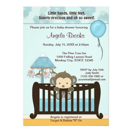 MONKEY Baby Shower Invitation Crib CJ-BLUE boy