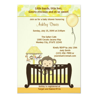 Monkey Baby Shower Invitation Crib YELLOW CJ-Y