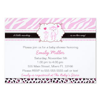 Monkey Baby Shower Invitation Girl Pink