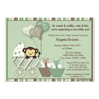 "Monkey Baby Shower Invitation GREEN Carriage MPP 5"" X 7"" Invitation Card"