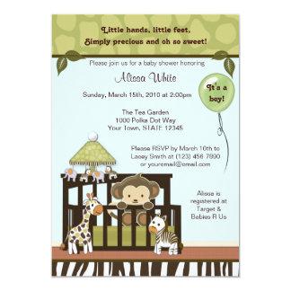 "Monkey Baby Shower Invitation jungle safari CA-B 5"" X 7"" Invitation Card"