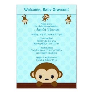 "MONKEY Baby Shower invitation Polka Dot BLUE MPP3 5"" X 7"" Invitation Card"