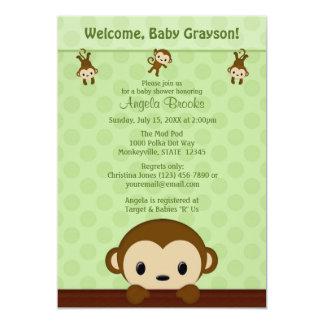 "MONKEY Baby Shower invitation Polka Dot GREEN MPP3 5"" X 7"" Invitation Card"