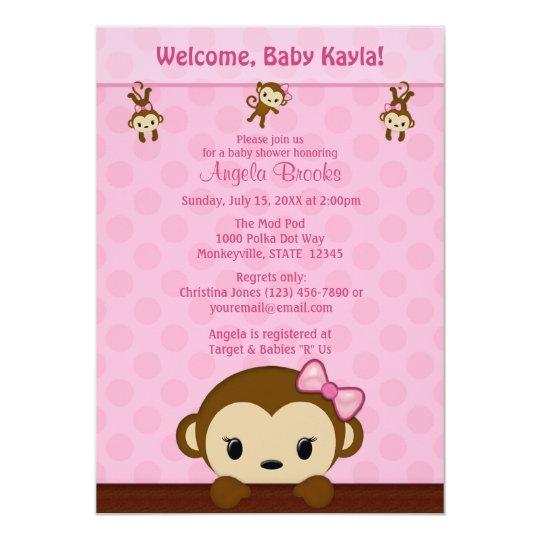MONKEY Baby Shower Invitation Polka Dot PINK GIRL