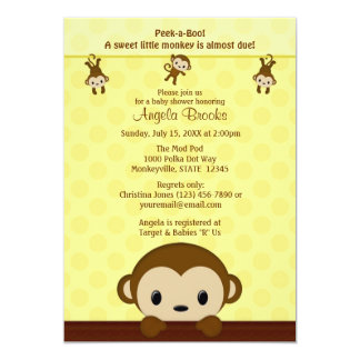 MONKEY Baby Shower invitation Polka Dot YELLOW MPP