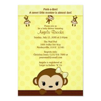 "MONKEY Baby Shower invitation Polka YELLOW GIRL 5"" X 7"" Invitation Card"