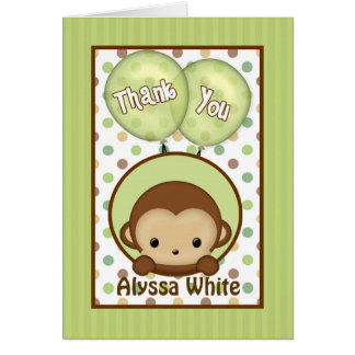 Monkey Baby Shower MPPv4 green Thank You Note Card