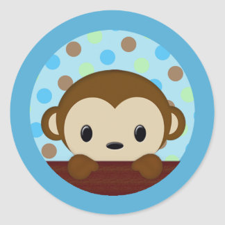 MONKEY Baby Shower Polka Dot BLUE GREEN seal